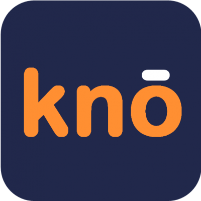 Kno icon on blue background